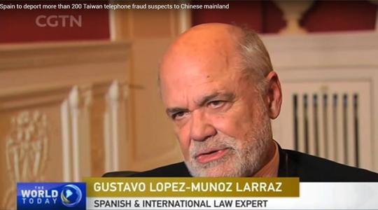 Entrevista a G. López-Muñoz y Larraz por la cadena internacional CCTV (noticias CGTN)